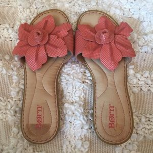 BORN Sandals with flowers! Very Nice!